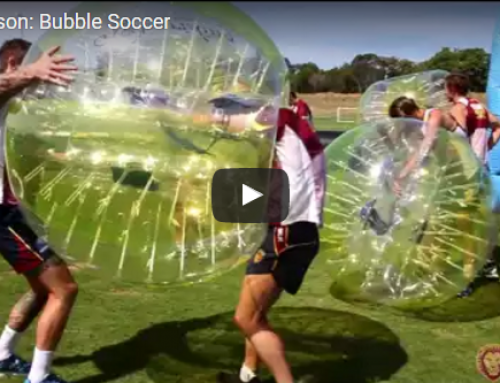 BRISBANE LIONS PLAYS BUBBLE SOCCER